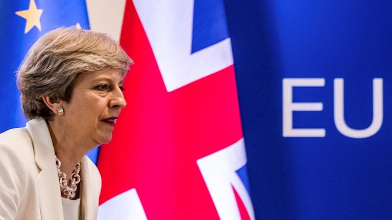 Theresa May med flaggor i bakgrunden