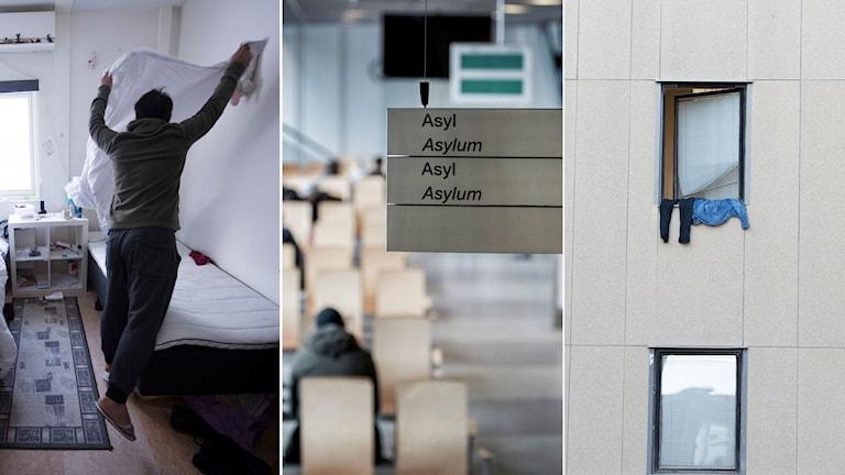 Man på asylboende bäddar sin säng, skylt i väntrum för asylsökande, fasad med fönster där det hänger ut kläder.