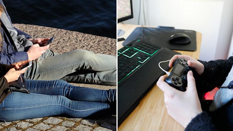 Ungdomar kollar i sin mobil och spelar dataspel.