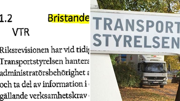 Ur Riksrevisionens rapport och Transportstyrelsens logga.