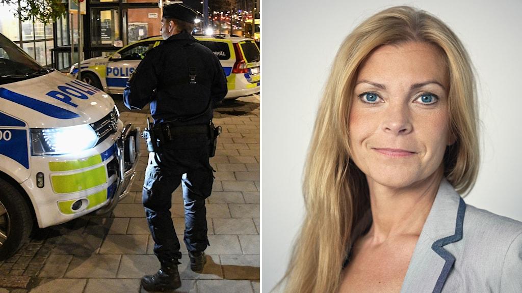 Polisman står framför polisfordon. Polisförbundets ordförande Lena Nitz.