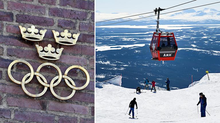 Delad bild: Olympiska ringar under tre kronor och en skidlift i Åre.