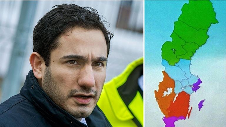 Delad bild: Ardalan Shekarabi och en karta över de föreslagna nya regionerna.