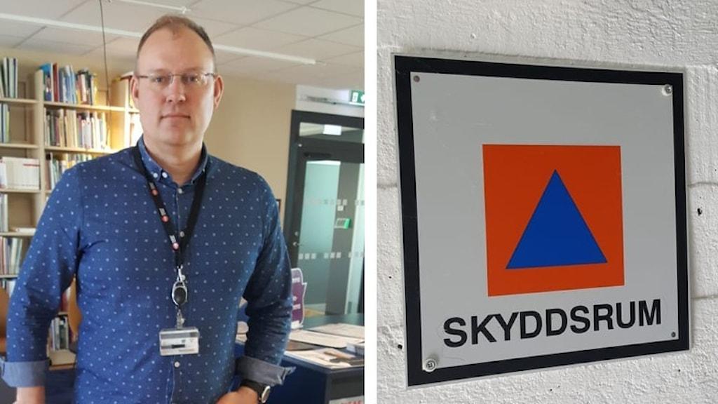 Bild på Henrik Larsson på MSB och en skylt till skyddsrum