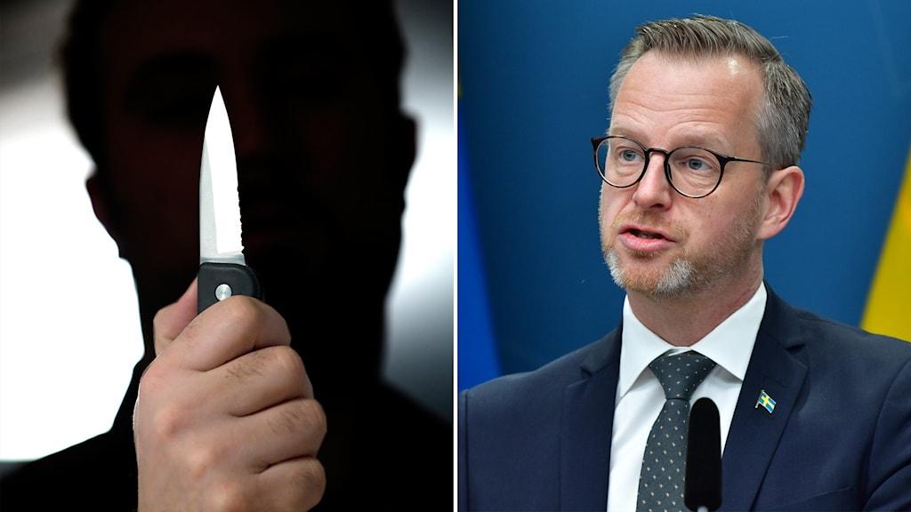 Person i skuggan med kniv och Mikael Damberg.
