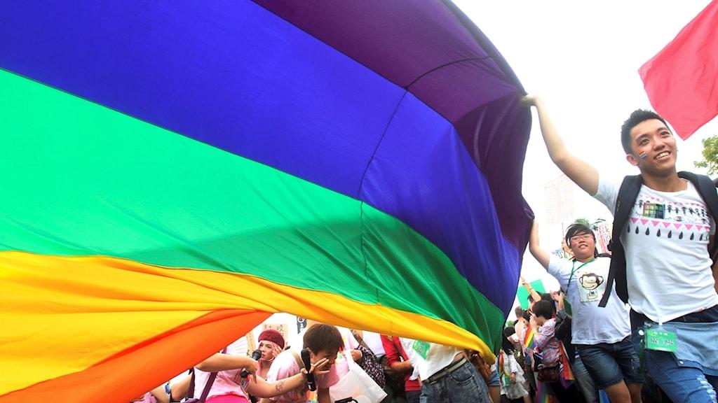 Regnbågsflagga och deltagare under pridefestival i Taiwan