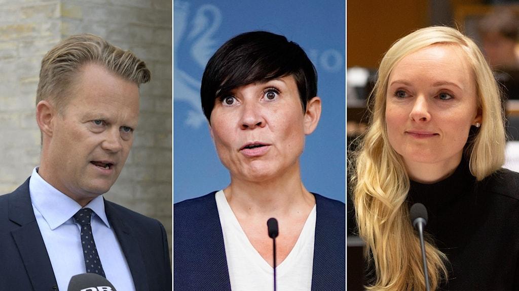 Danmarks utrikesminister Jeppe Kofod, Norges utrikesminister Ine Eriksen Søreide och Finlands utrikesminister Maria Ohisalo.