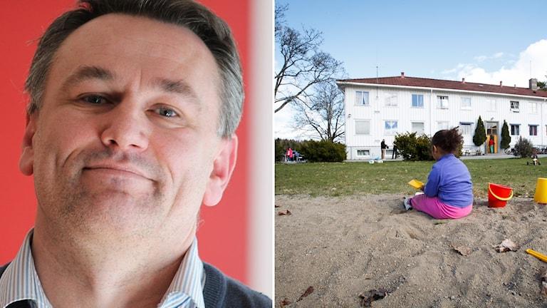 Ilko Corkovic Kommunalråd (S) Borgholm. Flicka framför asylboende.