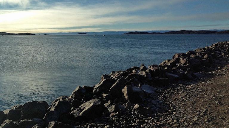 Iqaluit, största stad i Nunavut i nordöstra Kanada.
