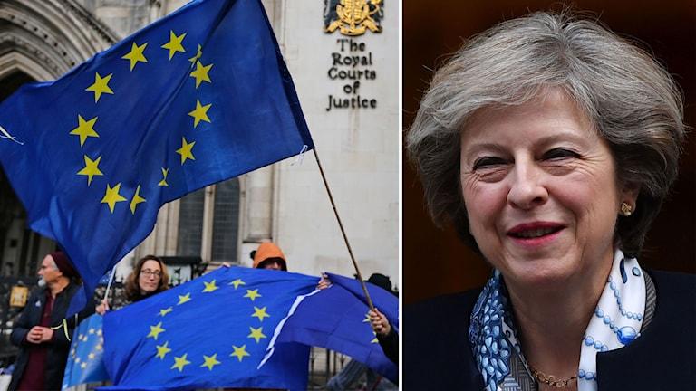 Bildmontage över premiärminister Theresa May och EU-flaggor.