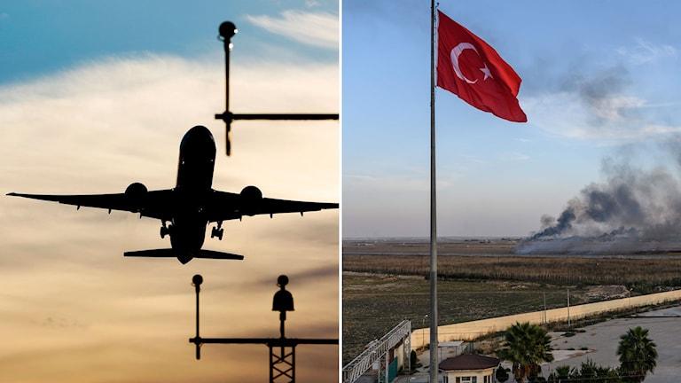 Flygplan som lyfter och bild på turkisk flagga med rökpelare i bakgrunden.