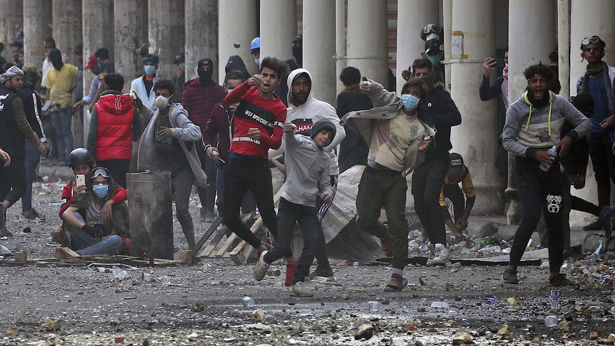 Protester i Iraks huvudstad Bagdad (arkivbild).