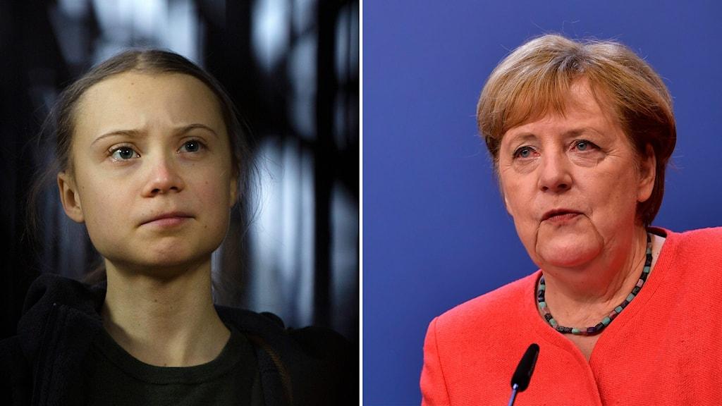 Delad bild: Greta Thunberg och Angela Merkel