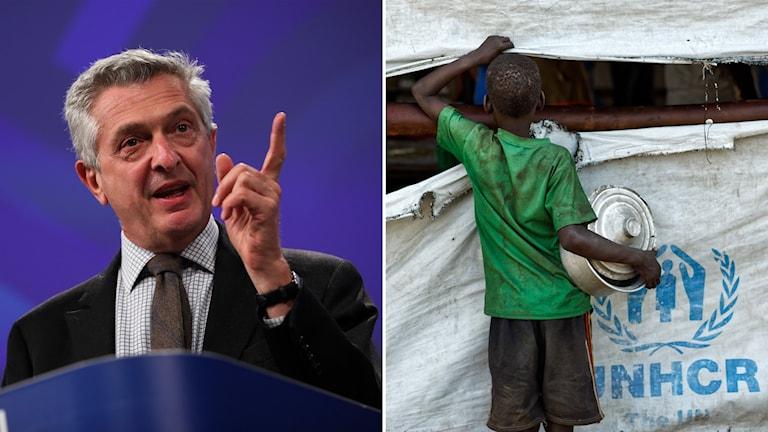 Delad bild: Man med höjt finger och pojke som håller en kastrull och tittar genom en reva i tältduk med texten UNHCR.