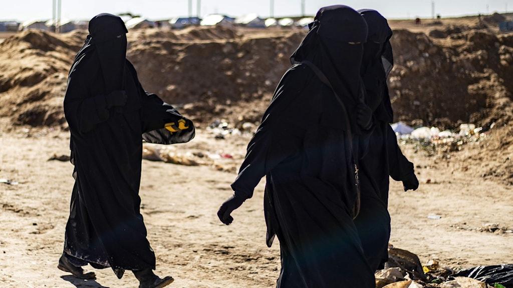 Arkivbild på kvinnor i al-Hol-lägret i Syrien.