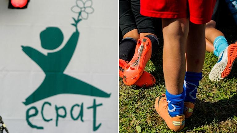 Bild på Ecpats logga och på barns ben som spelar fotboll.