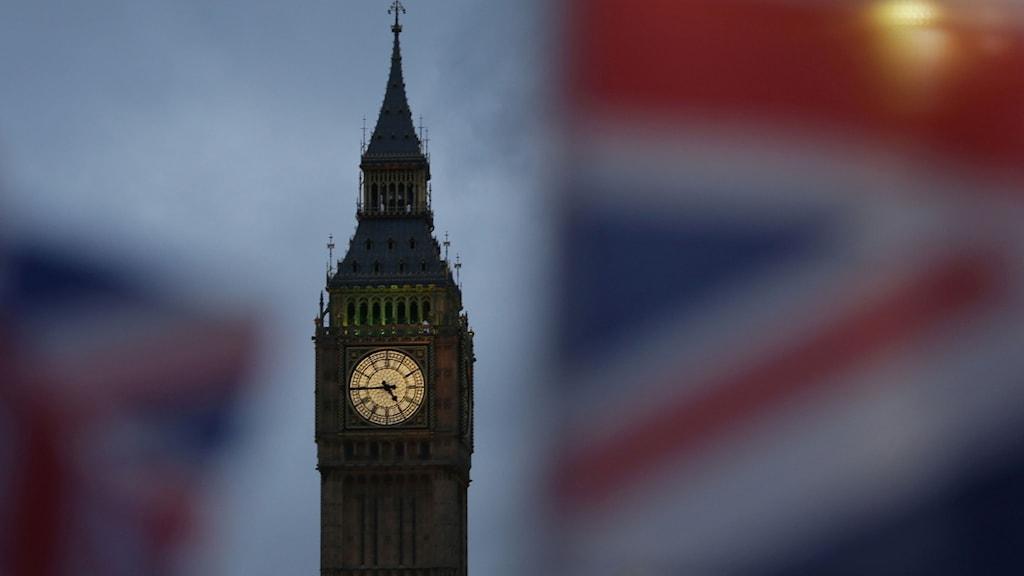 Brittiska flaggan nära Big Ben. Foto: Daniel Leal-Olivas/TT.