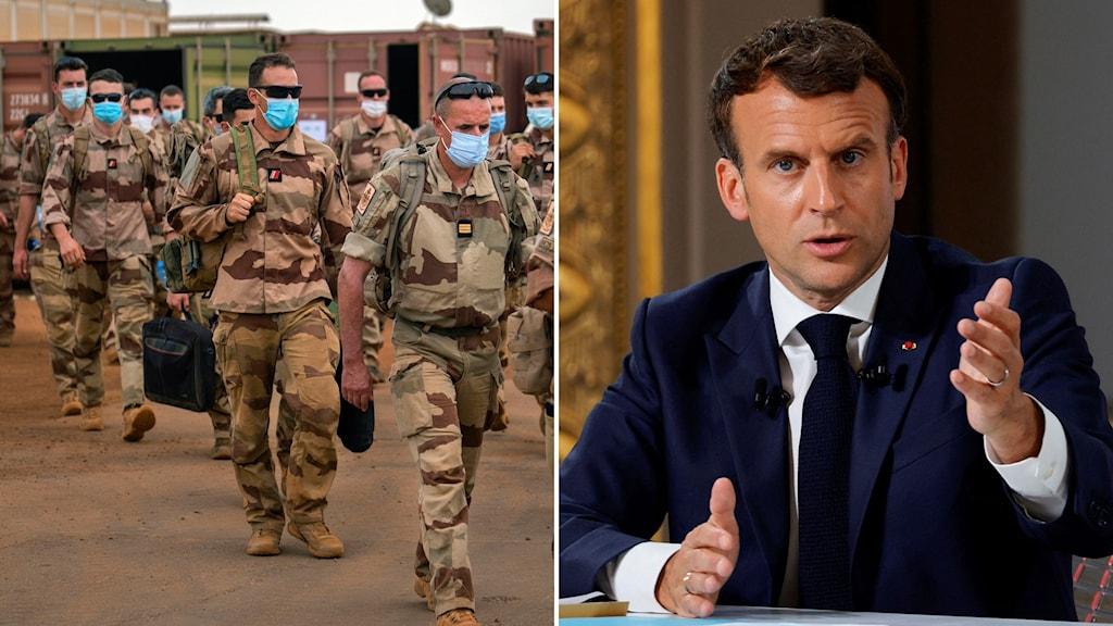 Militärer och Emmanuel Macron