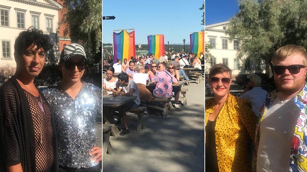 Fyra personer i glittriga och färgglada kläder i kön till invigningen av Stockholm Pride.