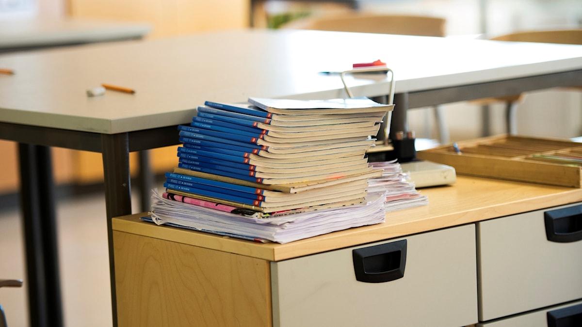 Skolböcker lektionssal skola