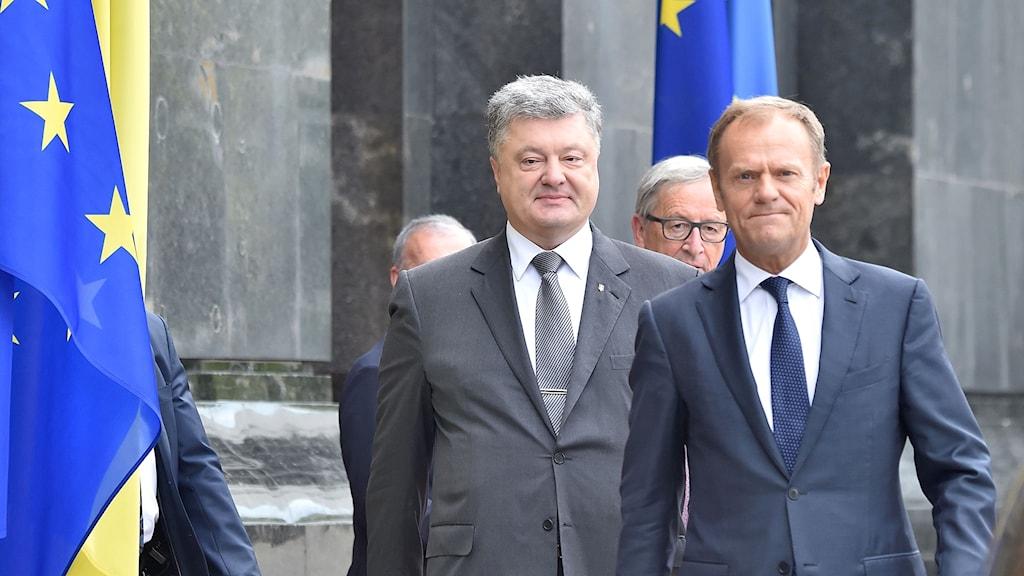 Toppmöte Kiev, Ukrainas president Petro Poroshenko (L) och uroparådets ordförande Donald Tusk