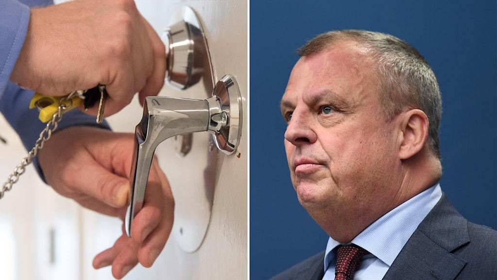 Bild på händer som låser och Kriminalvårdens generaldirektör Marin Holmgren.