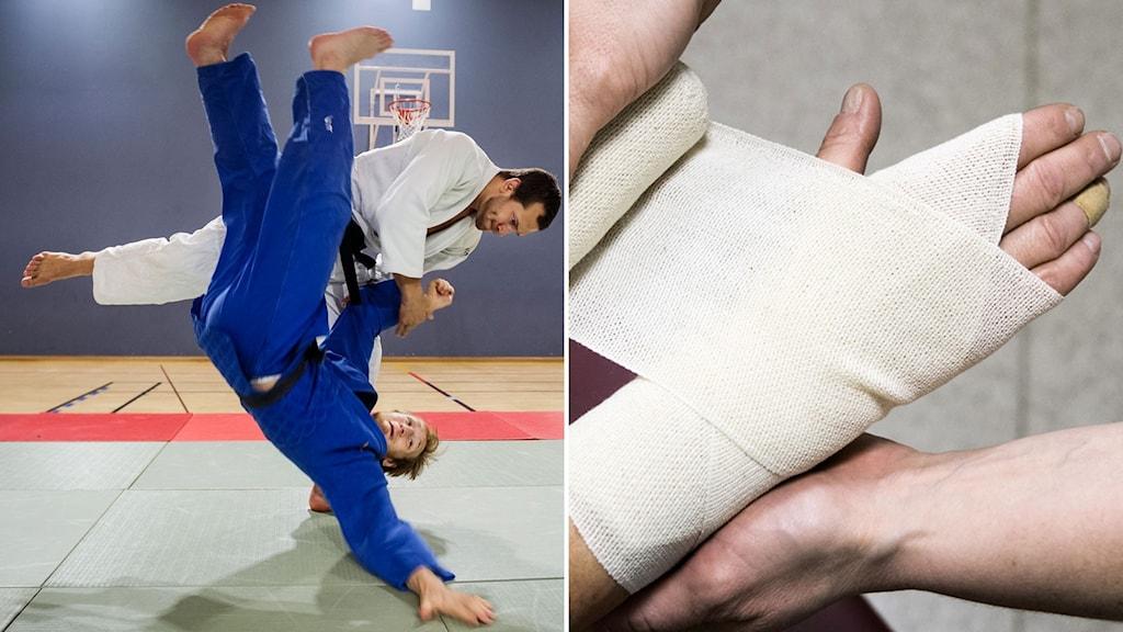 En man som kastar en annan man i en judomatch och en bild på en bandagerad handled.