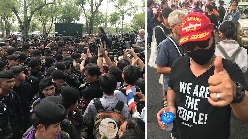 Demonstration i Bangkok med stor polisnärvaro.