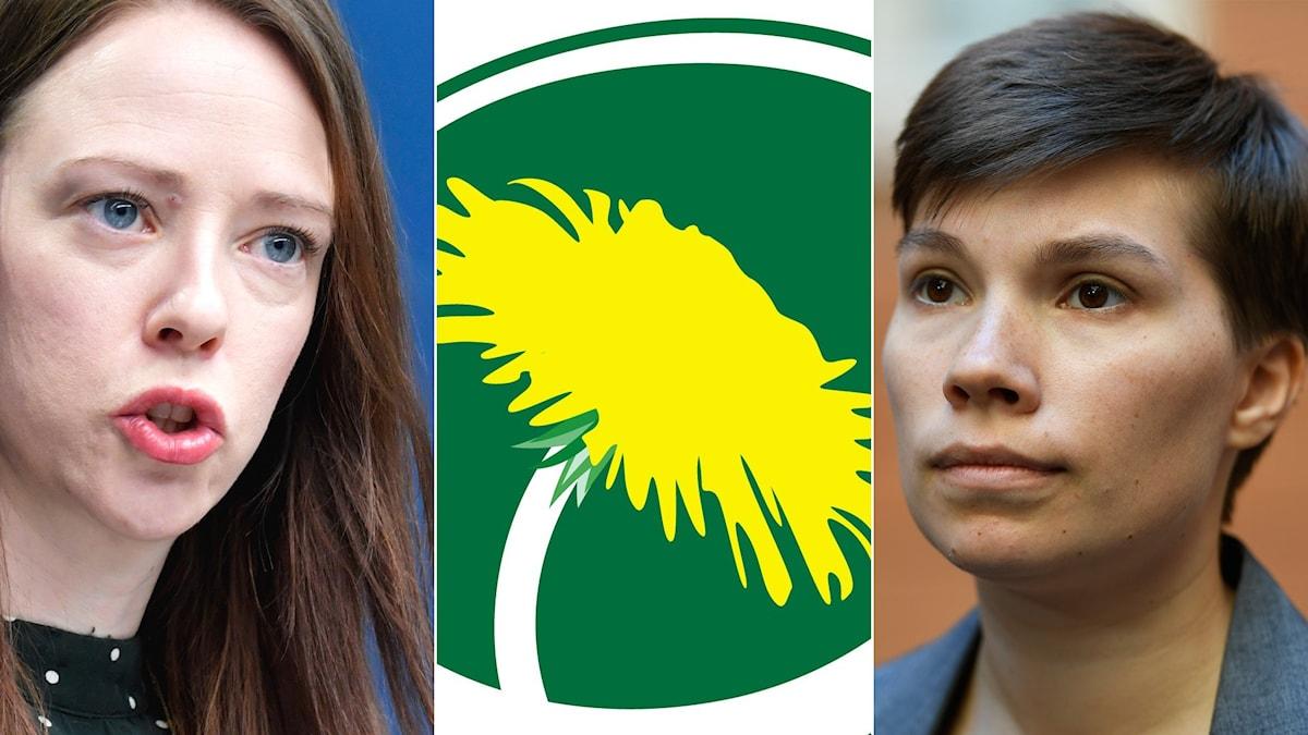 Jämställdhetsminister Åsa Lindhagen (MP), Miljöpartiets logotyp, riksdagsledamoten Annika Hirvonen (MP)