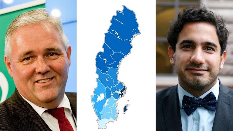 Tredelad bild: Glad Anders W Jonson (C), bild på förslag om regionindelning, glad Ardalan Shekarabi (S)