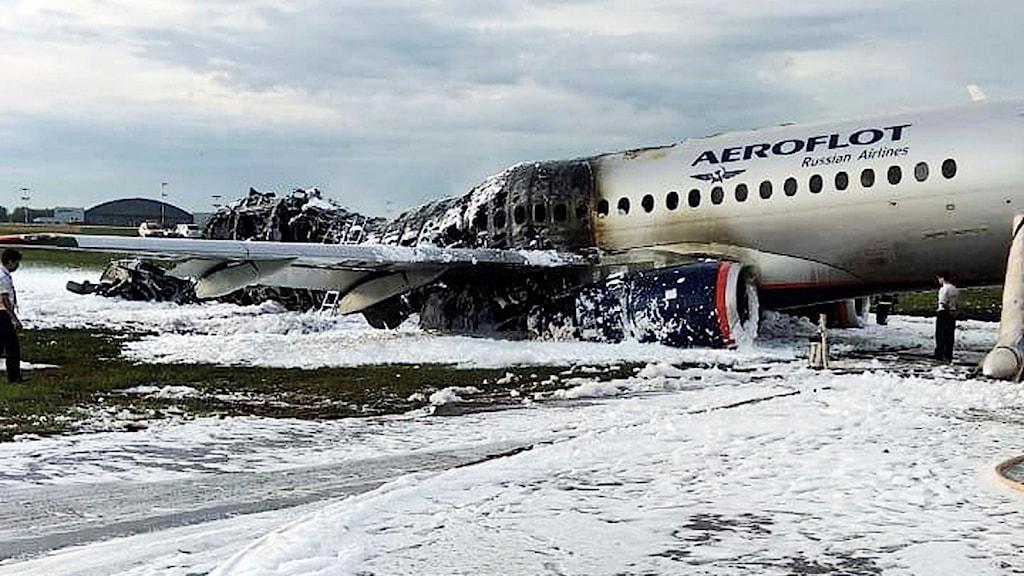 Det utbrunna flygplanet