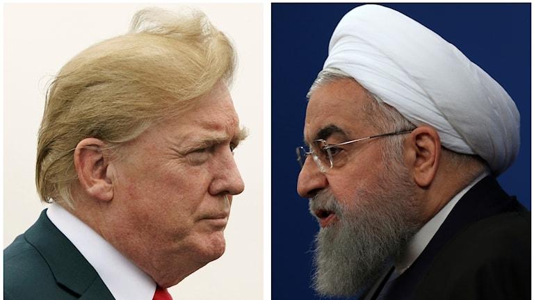 President Donald Trump, till vänster och Iranska presidenten Hassan Rouhani.