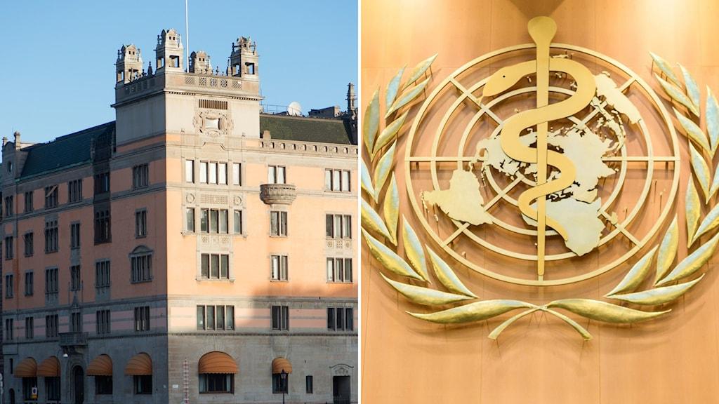 Till vänster: regeringskansliet. Till höger: WHO:s logotyp.