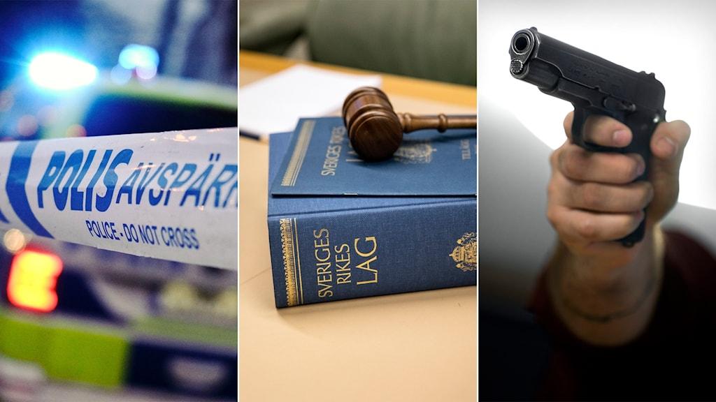 Tredelad bild: polisavspärrning, lagbok i rättsal, man som hotar med pistol.