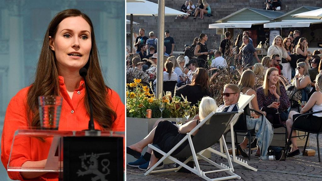 Finlands premiärminister Sanna Marin och personer som sitter på en uteservering.