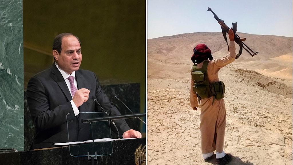 Abdel-Fattah el-Sissi och en person i Sinai med vapen uppsträckt i skyn.