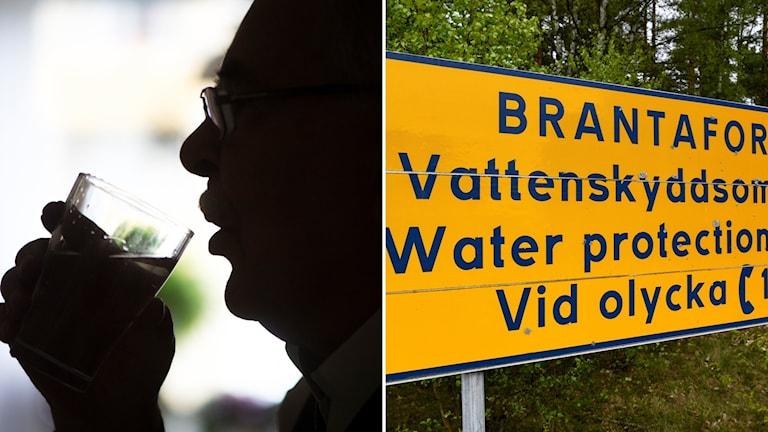 Person dricker vatten, bild på varningsskylt