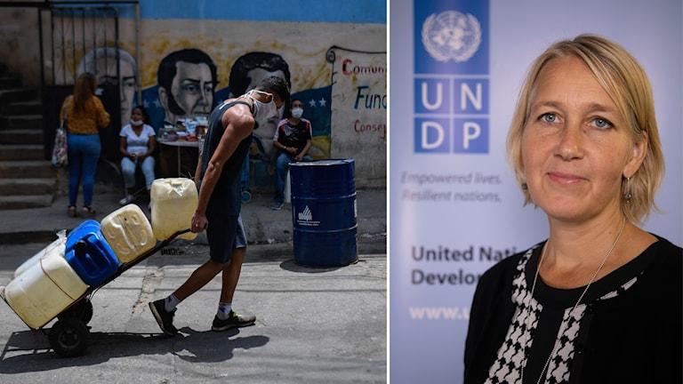 Montage på man som drar behållare med vatten och Ulrika Modéer assisterande generalsekreterare för UNDP