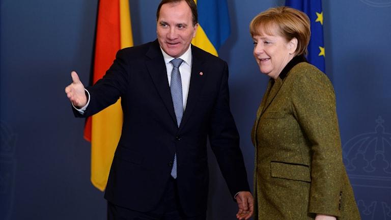 Sveriges statsminister Stefan Löfven, Tysklands förbundkansler Angela Merkel (arkivbild). Foto: Henrik Montgomery/TT