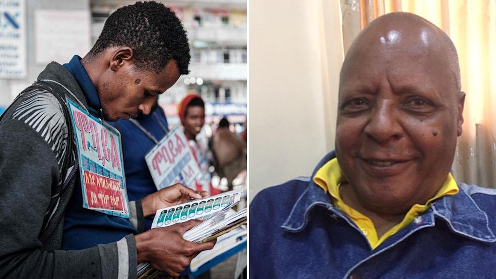 man med valsedlar i etiopien och bild på oppositionspolitiker
