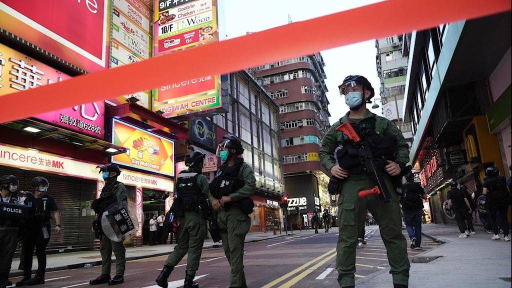Kravallpoliser i hongkong