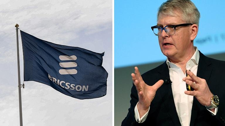 Vd Börje Ekholm, Ericssonflagga. Foto: Pontus Lindahl/Jonas Ekströmer/TT. Montage: Sveriges Radio.
