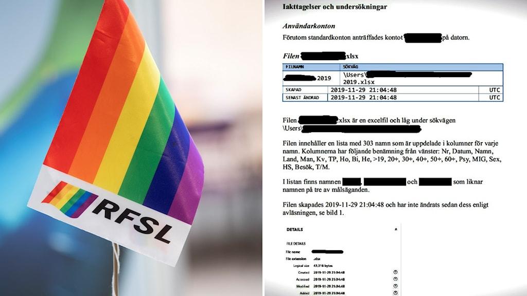 RSFL:s logotyp på en flagga och ett dokument med information.