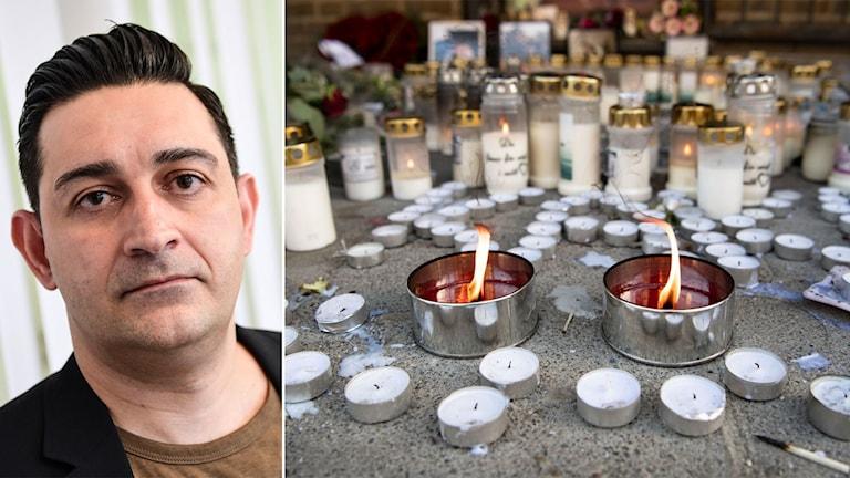 Blommor och ljus utanför ett internetcafé i Malmö där tre personer dödats