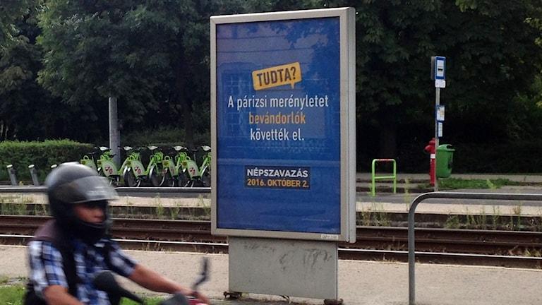 Reklamskylten som regeringen sponsrat lyder: Visste du att dådet i Paris utfördes av en invandrare?