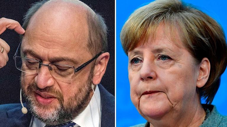 Martin Schultz och Angela Merkel.