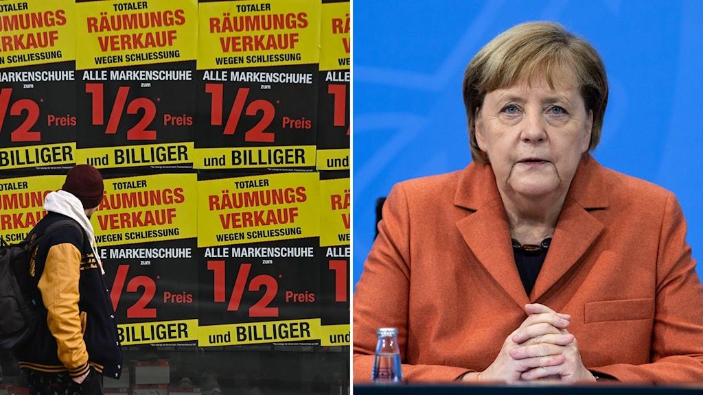 Skyltar om utförsäljning i Berlin och Tysklands förbundskansler Angela Merkel.