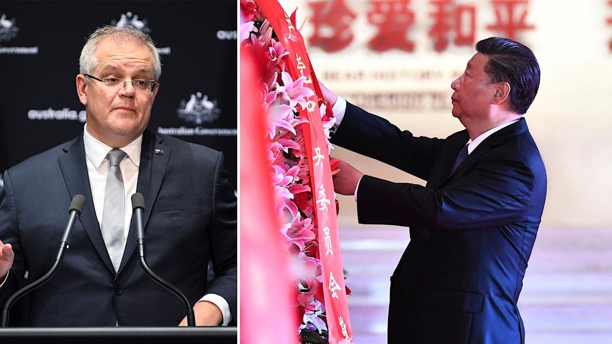 Australiens premiärminister Scott Morrison och Kinas ledare Xi Jinping.