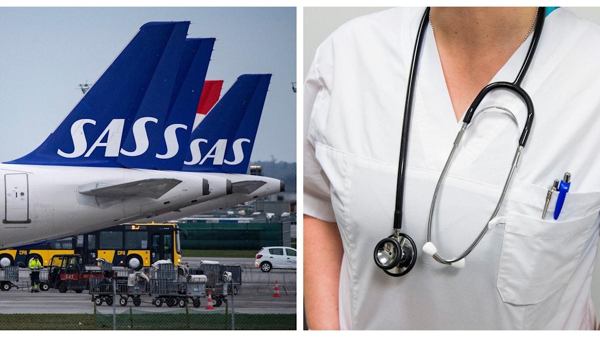 Collage. Till höger bild på SAS-flygplan. Till vänster bild på vårdpersonal med stetoskop.