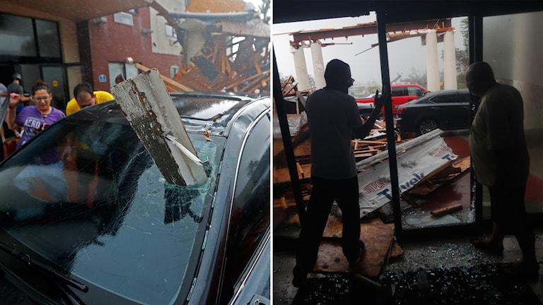 En bil som fått en bjälke genom vindrutan och ett tak som fallit ned.